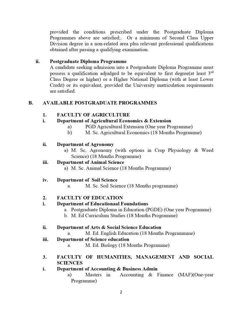 FUKASHERE Postgraduate Courses